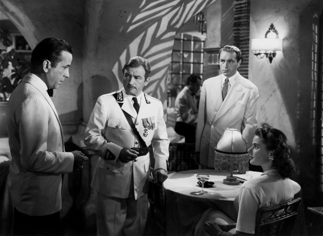 humphrey bogart, claude rains, paul henried & ingrid bergman - casablanca 1943