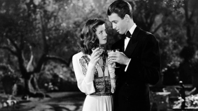 Philadelphia Story, The (1940)   Pers: Katharine Hepburn, James Stewart   Dir: George Cukor   Ref: PHI001AH   Photo Credit: [ MGM / The Kobal Collection ]   Editorial use only related to cinema, television and personalities. Not for cover use, advertising or fictional works without specific prior agreement