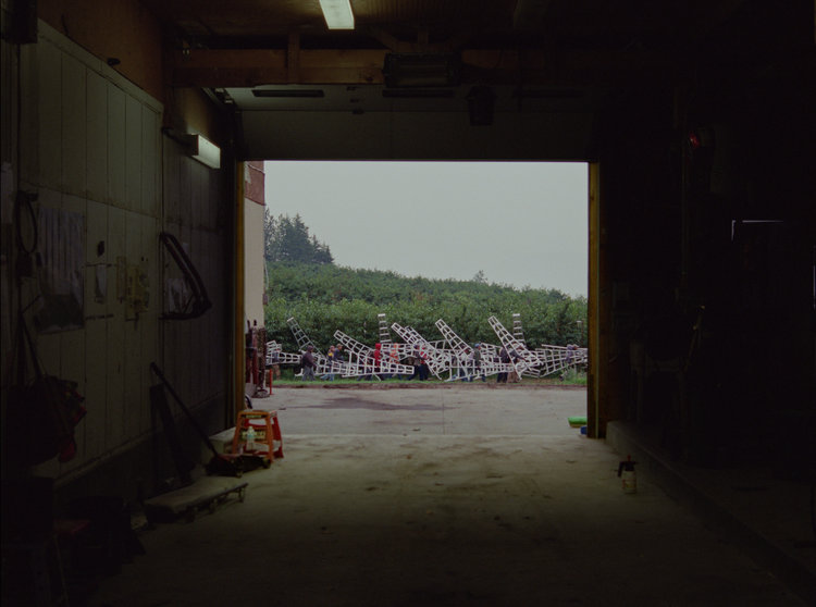 A still from Jessica Johnson and Ryan Ermacora's Labour/Leisure. Labourers on a cherry orchard carry large white ladders to a worksite, viewed from within a large warehouse door.